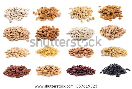 Sets of a lot of dried fruits