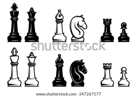 sets of black and white chess with chessboard part