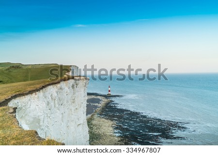 Seven sisters cliffs at English chanel coast, East Susex, England.