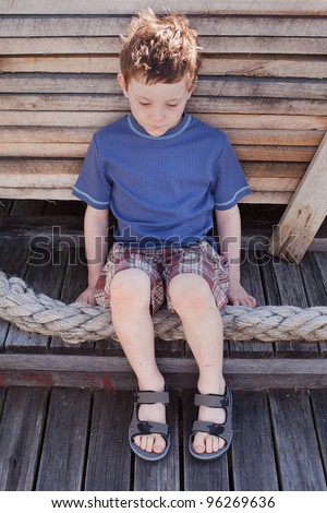 Seven Year Old Boy Wearing Sandals Stock Photo 96269627