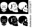 Several black and white human skulls. Illustration on black and white background. - stock photo