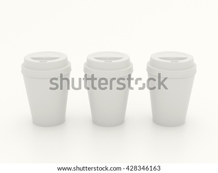 Several different paper cup set mock up with white blank for branding design or text. Group white plastic cups hot drinks isolated on white background with reflection. High resolution 3d illustration