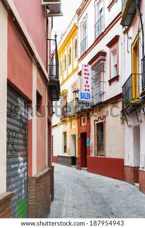 SEVILLE, SPAIN - APR 14, 2014:  Architecture of the Historic Centre in Seville, Spain. Historic Centre is protected by UNESCO