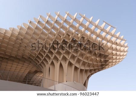 SEVILLE, SPAIN - AUGUST 12: Metropol Parasol in Plaza de la Encarnacion on August 12, 2011 in Seville, Spain. Designed by J. Mayer H. architects, it is made from bonded timber with a polyurethane coating.