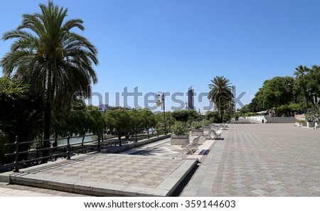 SEVILLE, SPAIN- AUGUST 27, 2014: On the Guadalquivir River, Seville, Andalusia, southern Spain