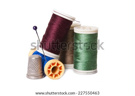sewing threads isolated on the white background