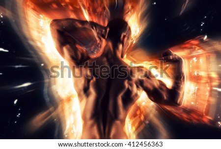 Sexy Athletic Man posing on glowing background