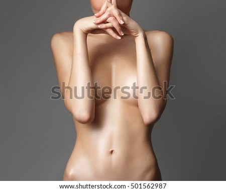 Sexy body of beautiful woman. Tanned woman body. Beautiful female body