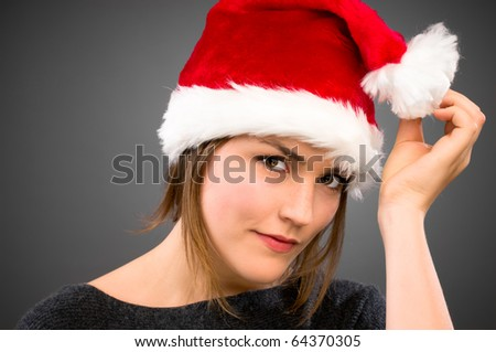 Sexy Christmas model in Santa hat