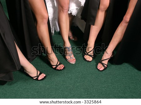 Sexy legs of wedding party women