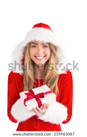 Sexy santa girl holding gift on white background