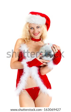 Sexy santa helper with big disco ball isolated on a white background