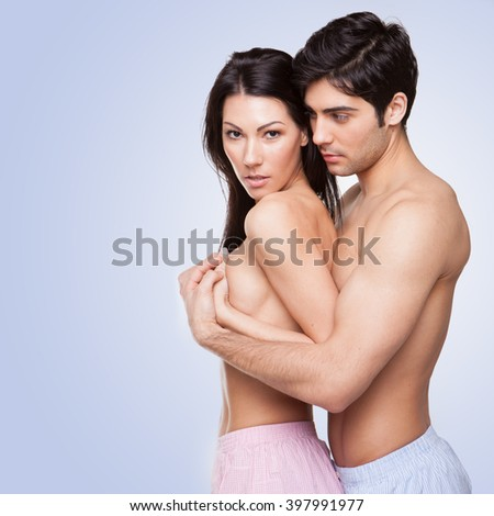 sexy topless couple in love wearing boxers