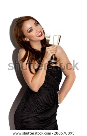 Sexy Woman Celebrating with Champagne