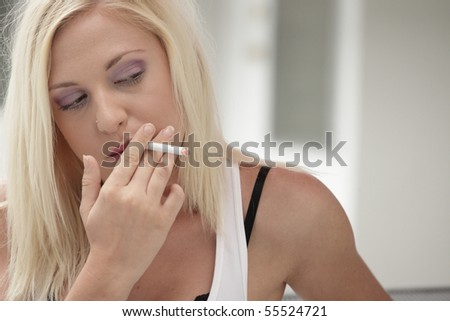 Sexy woman smoking