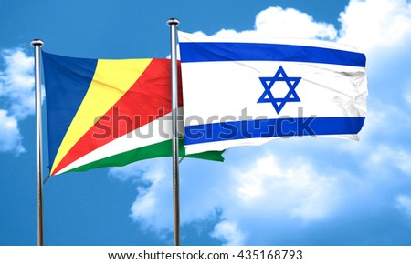 seychelles flag with Israel flag, 3D rendering