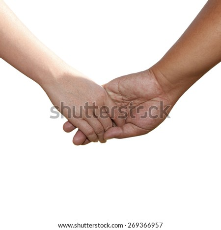 Shaking hands of male and female isolated on white.