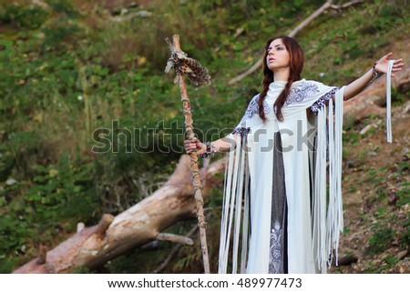Shaman with Staff and glass ball outdoor