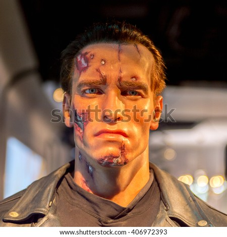 SHANGHAI, CHINA - APR 3, 2016: Arnold Schwarzenegger as the Terminator at the Shanghai Madame Tussauds wax museum. Marie Tussaud was born as Marie Grosholtz in 1761