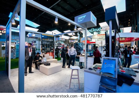 SHANGHAI, CHINA - AUGUST 31, 2016: Booth of SAP company at Connect 2016 information technology conference and exhibition in Shanghai, China on August 31, 2016.