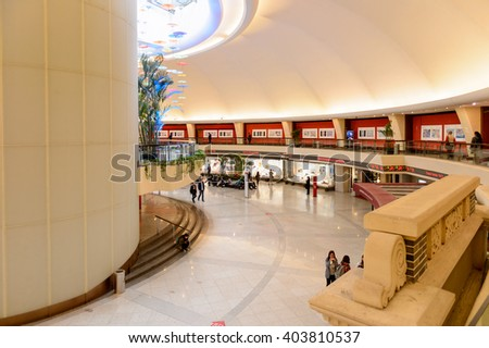 SHANGHAI, CHINA - MAR 31, 2016: Interior of the Oriental Pearl Radio and TV tower, a TV tower in Shanghai, China. One of the biggest attractions of Shanghai