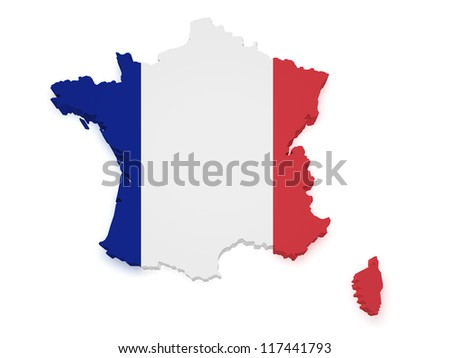 Shape 3d of France map with flag isolated on white background.