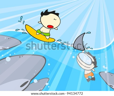 Sharks, diver and his friend surfer (raster version)