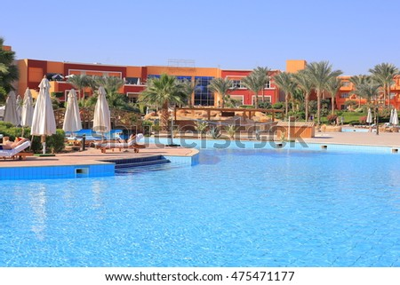 SHARM EL SHEIKH, EGYPT - DECEMBER 21, 2014: Pool and hotel at resort in Sharm El Sheikh in Egypt