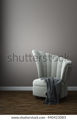 Shell wings chair -3D rendering