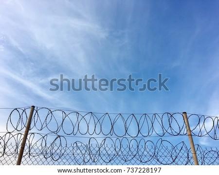 Barbed Wire Fence Razor Blue Sky Stock Photo 244742680 - Shutterstock