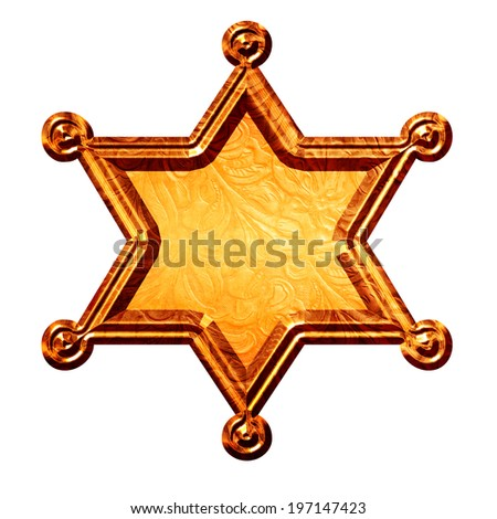 Sheriff star in bronze golden with black background.