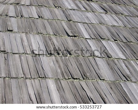 Shingle roof texture of an old traditional house, Sibiu, Romania