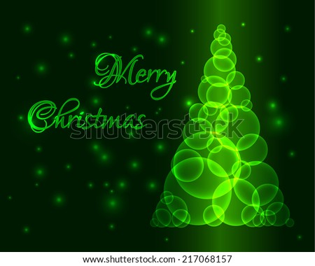 Shining green christmas tree made from circles or bubbles