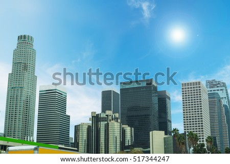 Shining sun over downtown Los Angeles, California