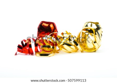 Shinny red and gold gift ribbon on white background