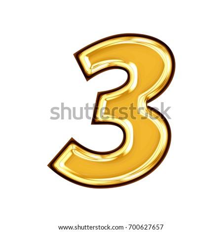 Black Gold 3d Number Three Stock Illustration 32143261 ...