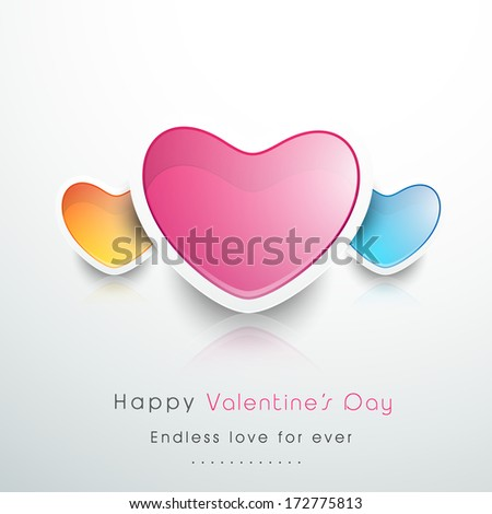 Shiny heart shapes on abstract grey background for Happy Valentines Day.