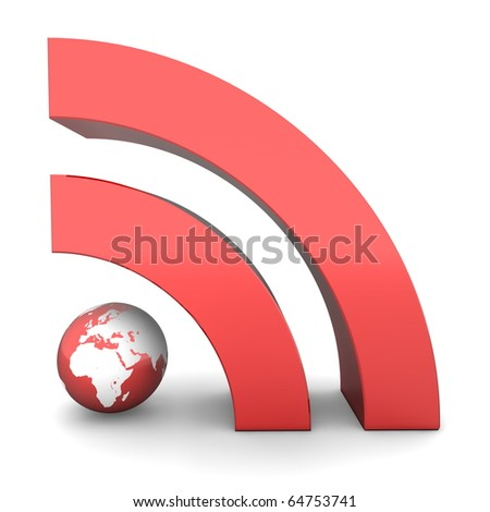 shiny metallic red RSS symbol rendered in 3D on white ground - front view