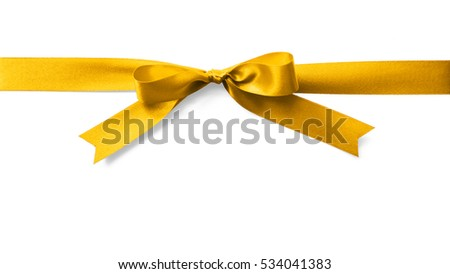 Shiny satin ribbon in bright yellow gold golden X'mas color isolated on white background (clipping path): Realistic bow banner stripe fabric design decoration element holiday festive greeting card