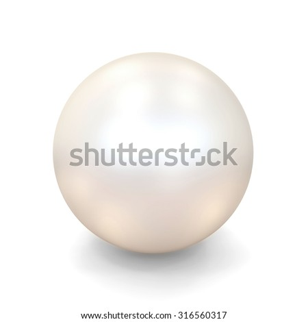 Shiny White Pearl isolated on white background