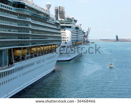ship and tourist excursion in port of Barcelona, Spain
