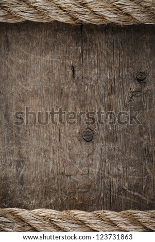 ship ropes on wood background texture
