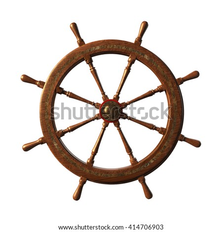 Ship's Wheel An old fashioned ship's wheel, isolated on white. 3d Rendering