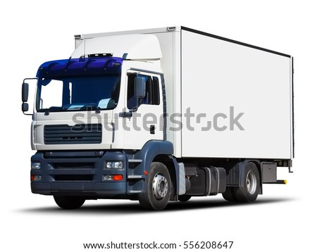 Shipping industry, logistics transportation and cargo freight transport industrial business commercial concept: white delivery truck or container auto car trailer isolated on white background