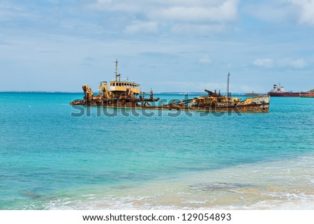 Shipwreck off the coast of Marigot, St. Martin, Virgin Islands