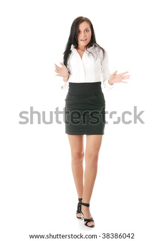 Shocked businesswoman isolated on white background