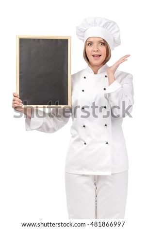 shocked chef, cook or baker woman with empty blackboard making tasty gesture and enjoying food isolated on white background. restaurant and cooking concept. advertisement blank board. your text here