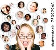 Shocked screaming young woman in glasses with her social network friends and business partners in a diagram - stock photo