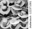 Shop of the straw hats, Mexico (black and white) - stock photo