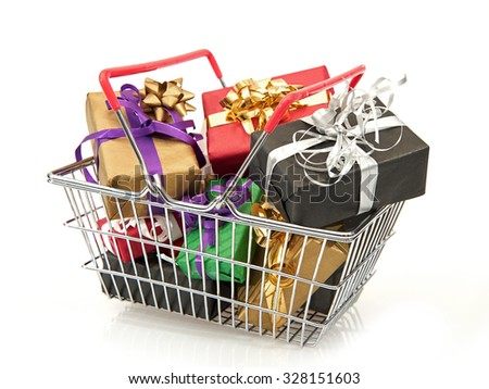 Shopping basket filled with colourful christmas presents